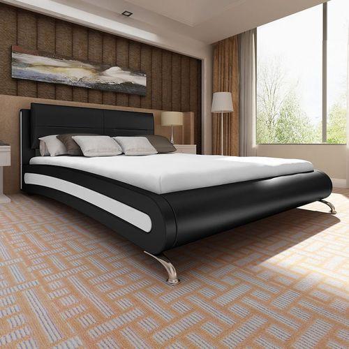 łóżko z czarno-białej eko skóry+materac pianki anatomicznej 180x200 marki Vidaxl