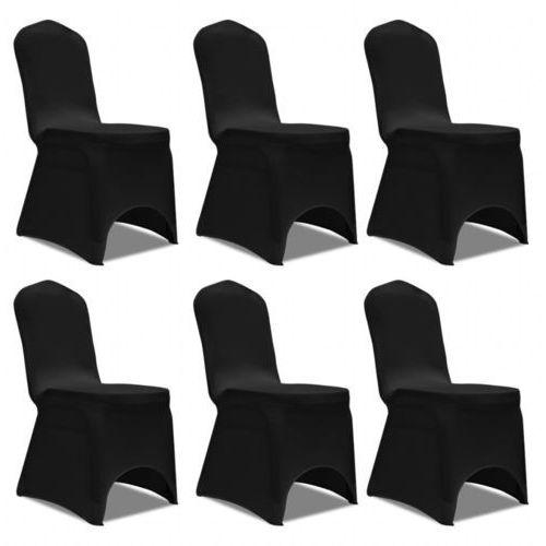 Vidaxl pokrowiec na krzesło, czarny x 6