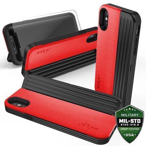 ZIZO RETRO SERIES ETUI OBUDOWA Z KIESZENIĄ NA KARTY IPHONE X (RED/BLACK) + SZKŁO HARTOWANE NA EKRAN, kolor czarny