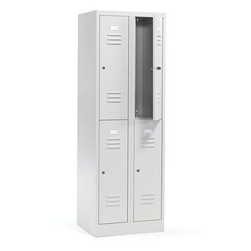 Aj Szafa ubraniowa campus 2 sekcje 4 drzwi 1800x600x500 mm jasnoszary