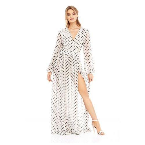 Sukienka Penelopa biała w czarne kropki, w 2 rozmiarach