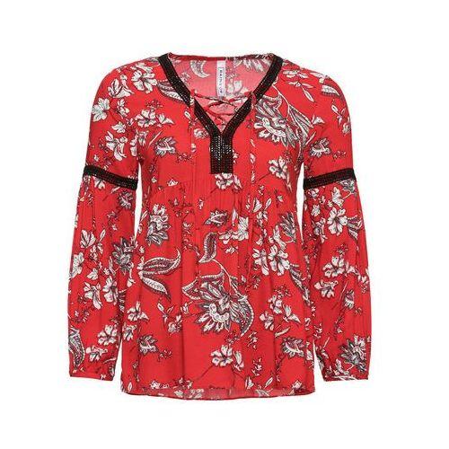 Bonprix Koszulka z kokardkami (2 szt.) brzoskwiniowy z nadrukiem + jasnoróżowy