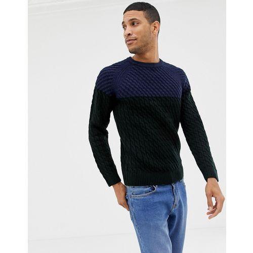 cable knit jumper in colour block blue - blue, Burton menswear