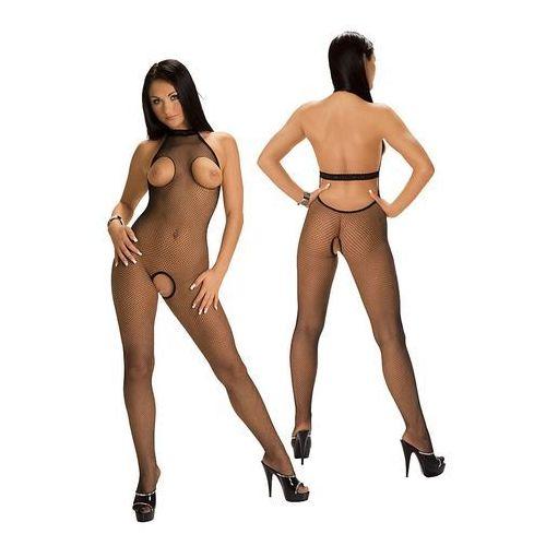 Kombinezon kostium fishnet catsuit czarny z rozcięciem na biust i waginę 6372 marki Roxana