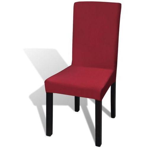 Vidaxl Naciągany pokrowiec na krzesło - bordowy - 6 szt