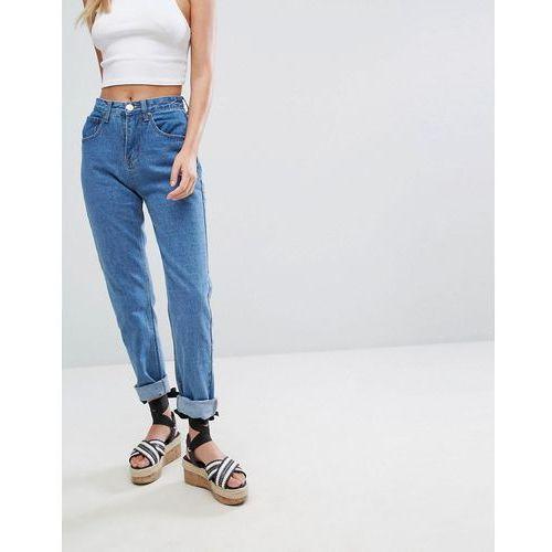 Boohoo Turn Up Hem Mom Jeans - Blue, kolor niebieski