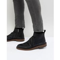 Walk London Leather Zip Boots In Black - Black