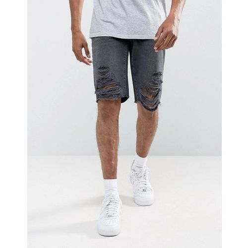 River Island Denim Shorts With Extreme Rips In Black Wash - Black