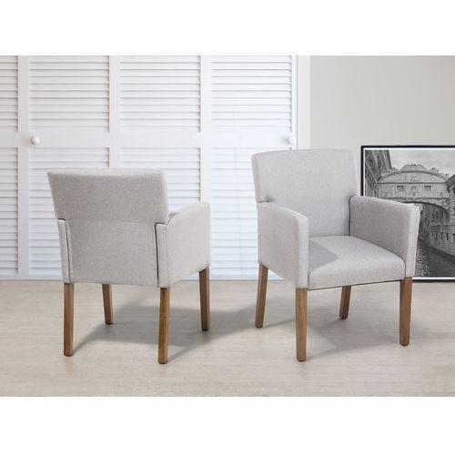 Krzesło do jadalni, kuchni jasnoszary - fotel tapicerowany - ROCKEFELLER - produkt z kategorii- Krzesła