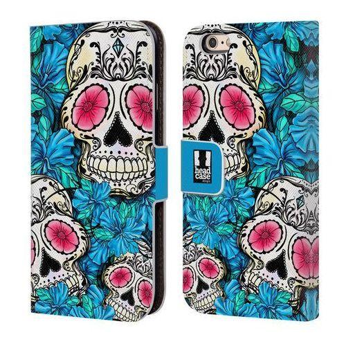Etui portfel na telefon - Florid of Skulls BLUE