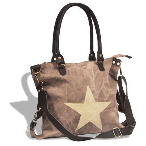 vidaXL Płócienno-skórzana torba na zakupy z gwiazdą, brązowa