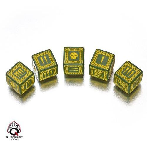 Q-workshop Komplet kości - orkowy, bitewny - zielono-żółty (5907699490530)