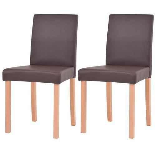 Krzesła, 2 szt., sztuczna skóra, drewno bukowe, brązowe