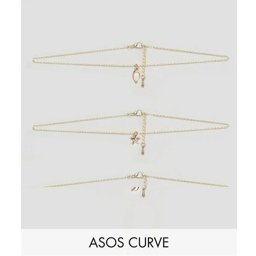 exclusive pack of 3 chain choker and layering necklaces - gold marki Asos curve