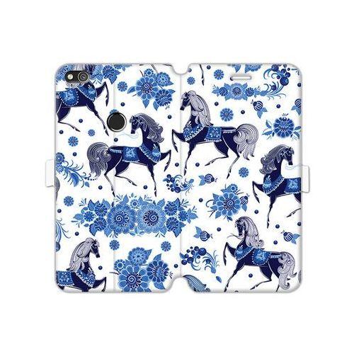 Huawei P8 Lite (2017) - etui na telefon Wallet Book Fantastic - folkowe niebieskie konie
