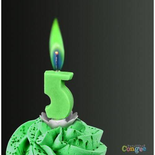 """Świeczka cyferka piątka """"5"""" z zielonym płomieniem - 1 szt."""
