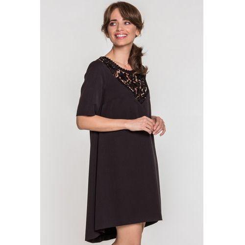 Czarna sukienka z haftem - marki Metafora