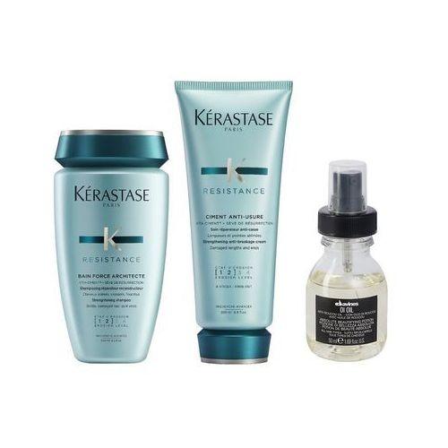 Kerastase force architecte and oi oil | zestaw odbudowujący do włosów: kąpiel 250ml + odżywka 200ml + olejek do włosów 50ml
