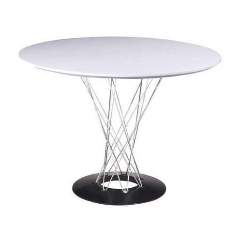Stół okrągły TWIST 100 biały - MDF, stal chromowana