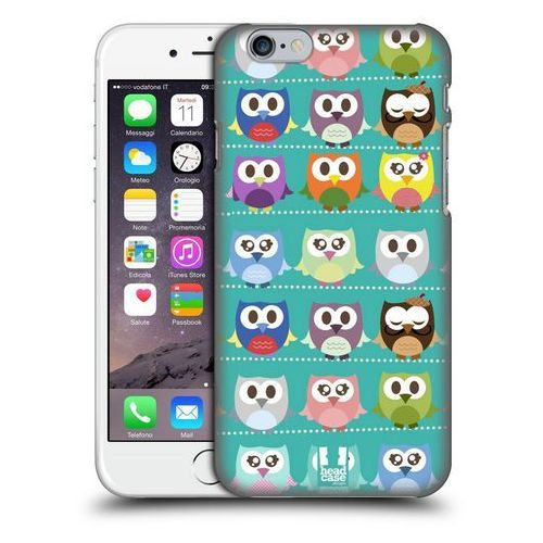 Etui plastikowe na telefon - Kawaii Owl GREEN PATTERN