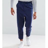 Asos tall drop crotch tapered smart trousers in navy textured linen blend - navy marki Asos design
