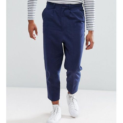 tall drop crotch tapered smart trousers in navy textured linen blend - navy, Asos