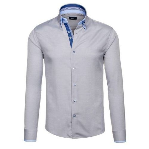 Szaro-błękitna koszula męska elegancka z długim rękawem Bolf 5805 - SZARO-BŁĘKITNY
