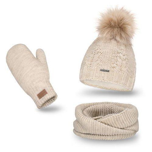 OKAZJA - Komplet PaMaMi, czapka, komin i rękawiczki - Beżowy - Beżowy, kolor beżowy