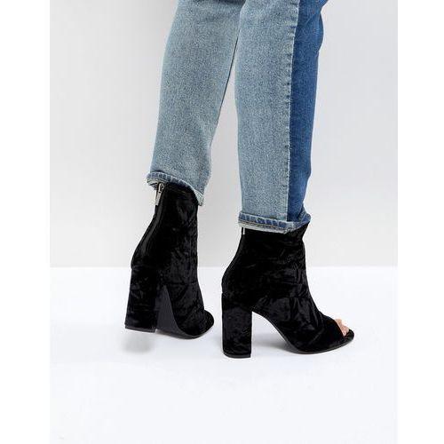 velvet peep toe block heel shoe boot - black, New look