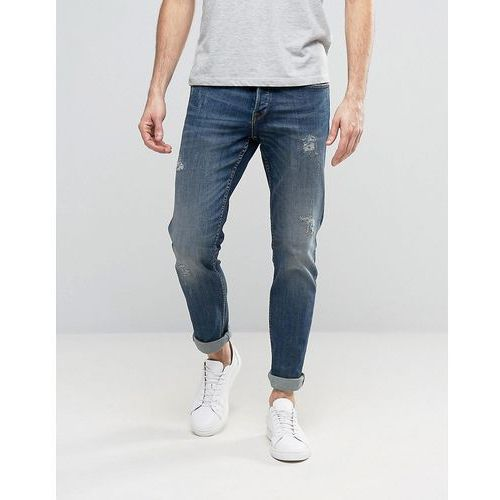 Only & Sons Straight Fit Jeans with Abrasion in Medium Blue Wash - Blue, kolor niebieski