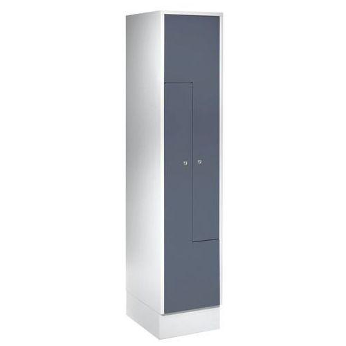 Szafka ze stali, szafka do przebieralni, 2 przedziały, drzwi niebiesko-szare. st marki Eugen wolf