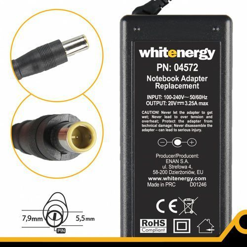 Whitenergy Zasilacz 20v/3.25a Wtyk 7.9 X 5.5 + Pin, 04572