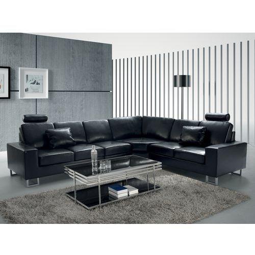 OKAZJA - Stylowa sofa kanapa z czarnej skóry naturalnej narożnik STOCKHOLM