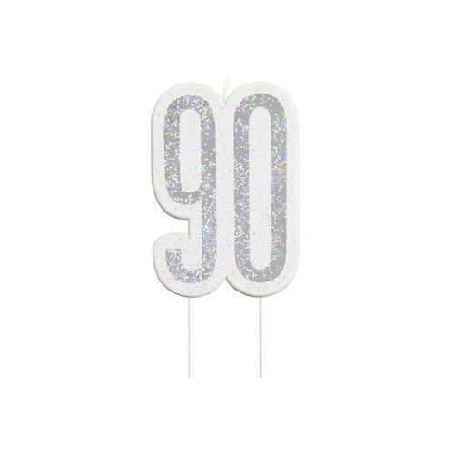 Świeczka srebrna na 90-tke z brokatem - 1 szt. marki Unique