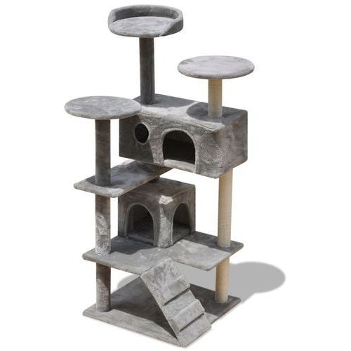 Vidaxl szary drapak dla kota: 2 domki, drapaki, legowiska 126 cm