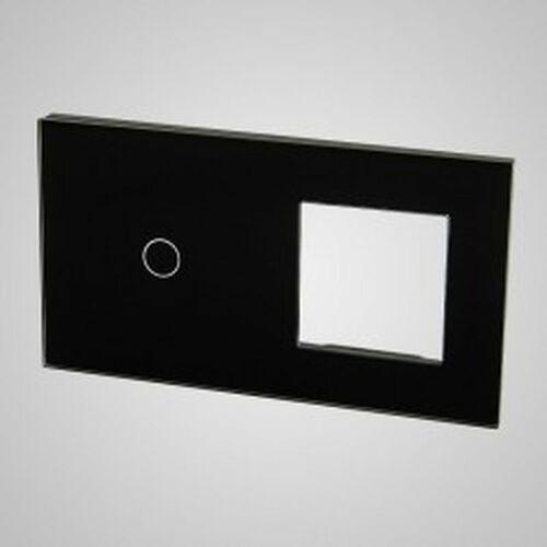 TouchMe Duży panel szklany, 1 x łącznik pojedynczy, 1 x ramka, czarny TM701728B