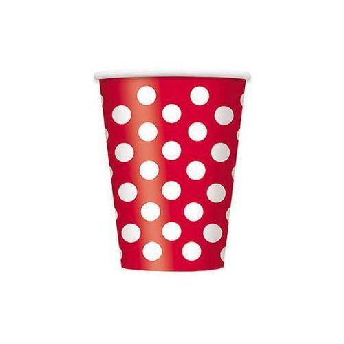 Kubeczki urodzinowe czerwone w białe kropki - 355 ml - 6 szt. marki Unique