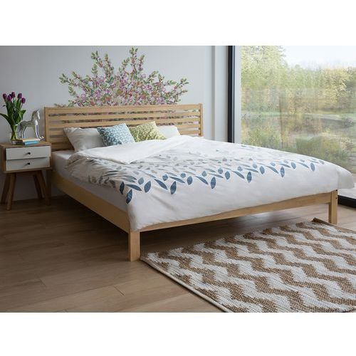 Łóżko jasnobrązowe - drewniane 160x200 cm - podwójne - CARNAC, kolor brązowy