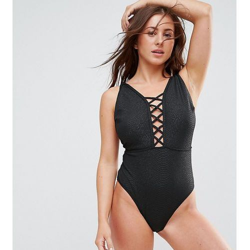 croc printed lattice plunge swimsuit dd - g cup - black, Wolf & whistle
