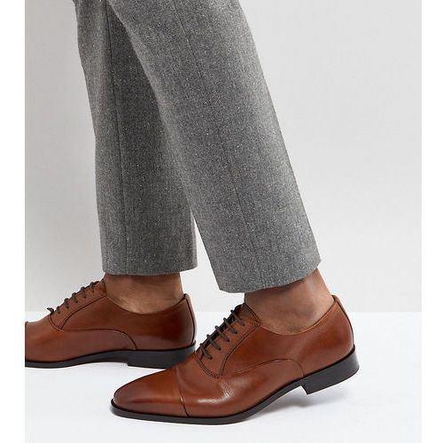 wide fit toe cap derby shoes in tan leather - tan, Dune