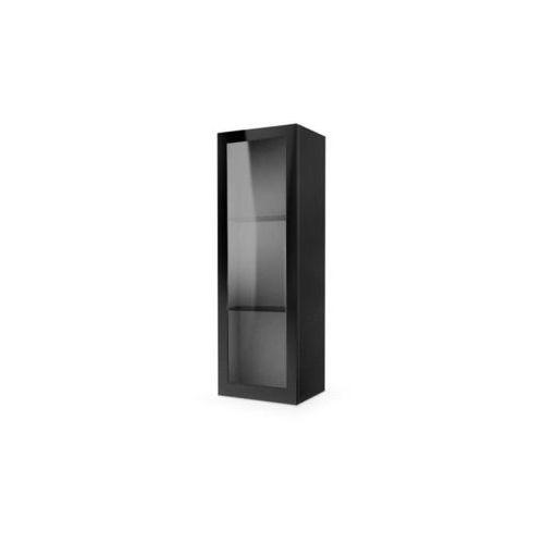 Style furniture Tres szafka wisząca przeszklona czarna wysoki połysk