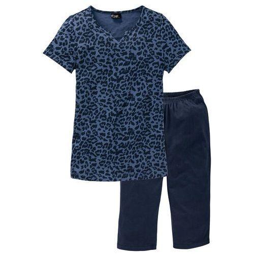 Piżama ze spodniami 3/4 bonprix niebieski indygo z nadrukiem, kolor niebieski