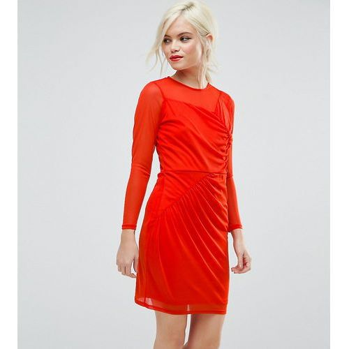 mesh mini dress with ruched details - red, Asos petite