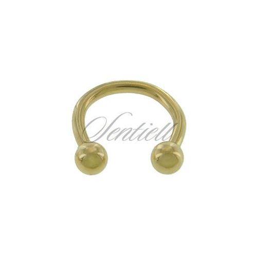 Sentiell Stalowy (316l) kolczyk podkówka z kulkami - złota