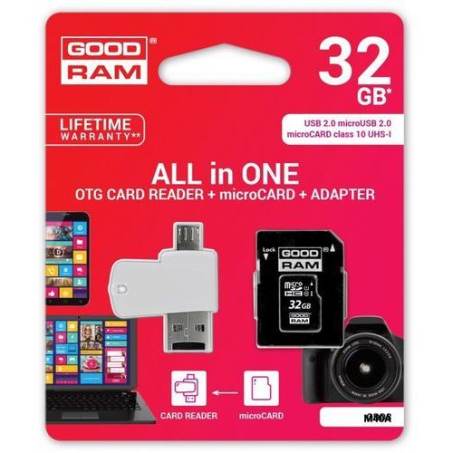Karta pamięci MicroSDHC GOODRAM 32GB All in one - microCARD class 10 UHS I + adapter + OTG card reader USB/microUSB 2.0, M1A4-0320R11