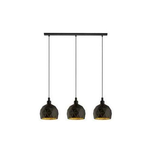 Lampa wisząca Eglo Roccaforte 97846 sufitowa 3x40W E14 czarna/złota