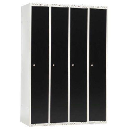 Szafa ubraniowa CLASSIC, 4 moduły, 1740x1200x550 mm, czarny, 315416