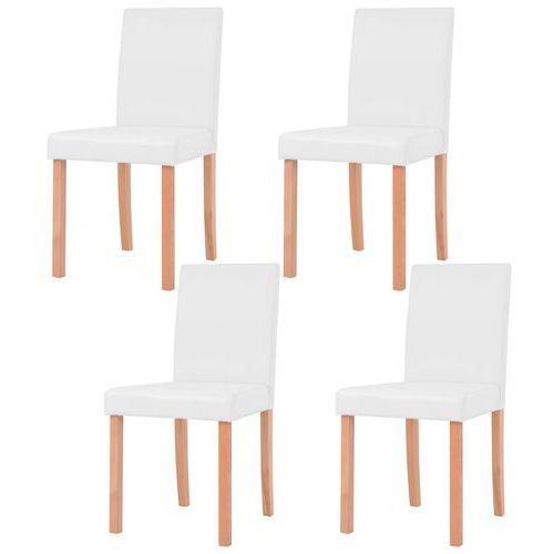 Vidaxl krzesła, 4 szt., sztuczna skóra, drewno bukowe, kremowe