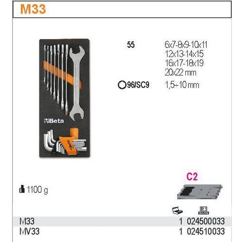 Beta Wkład profilowany miękki z zestawem narzędzi, 17 elementów, model 2450/m33