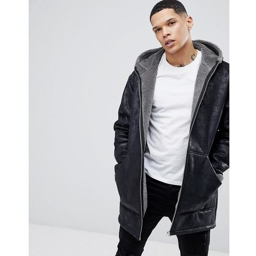 River island oversized shearling jacket with hood in black - black